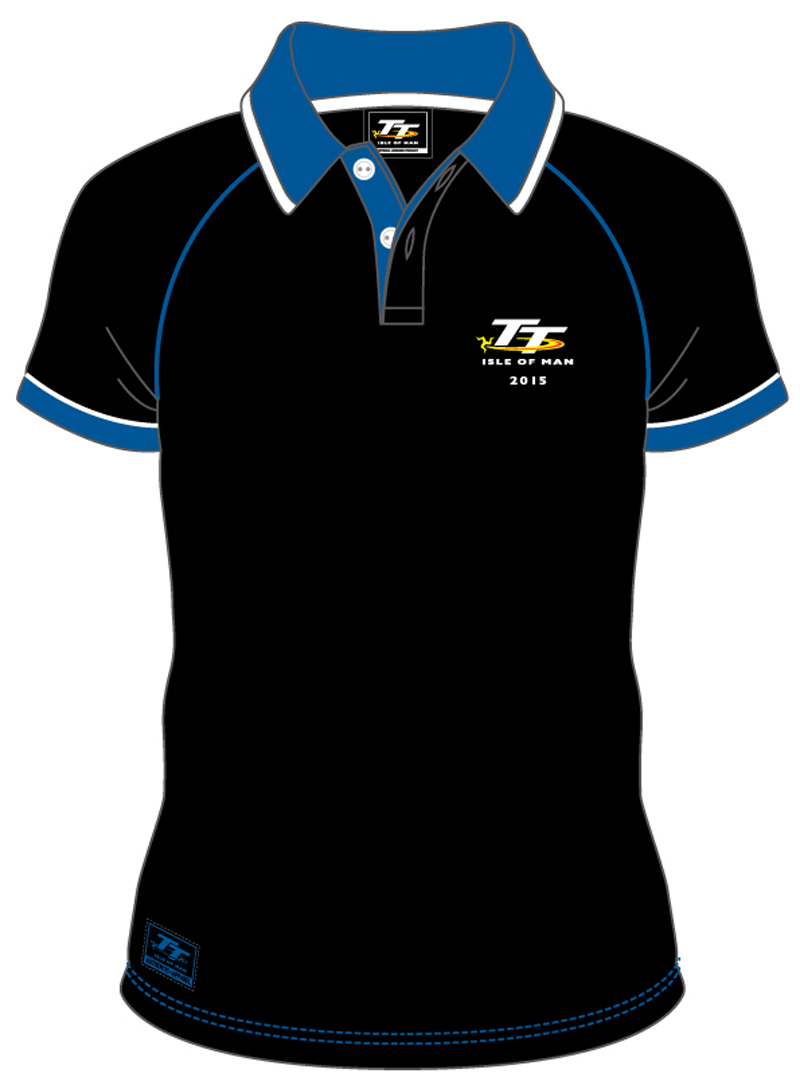 56b7dd1490e ... discount code for tt 2015 polo shirt black blue collar white trim isle  of man tt