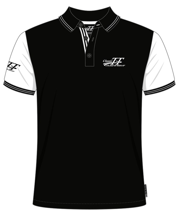 Classic TT Polo Black with White Sleeves - click to enlarge