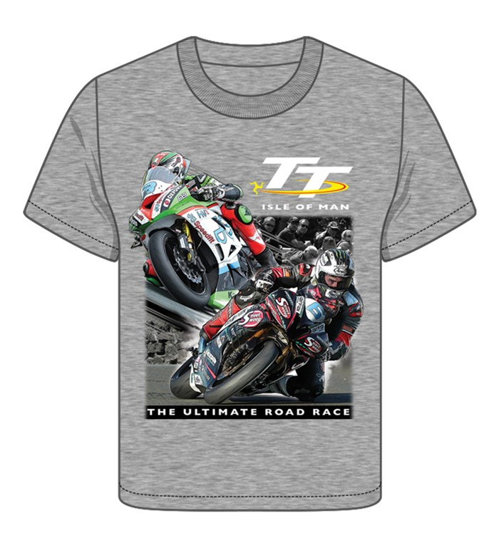 TT 2 Bikes Childs T- Shirt Grey - click to enlarge