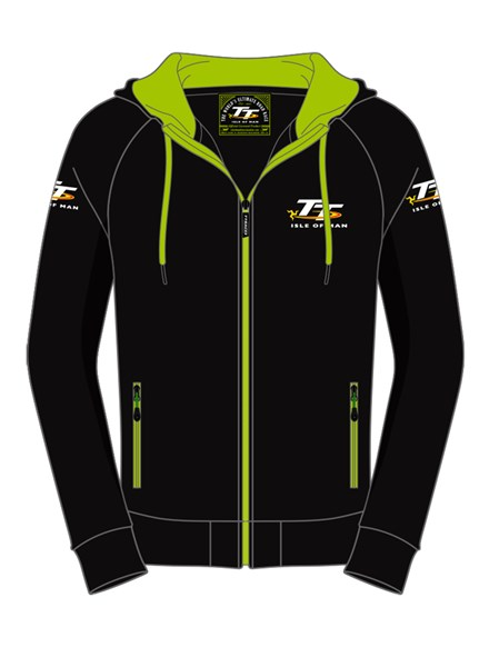 TT Hoodie Black, Green Trim - click to enlarge