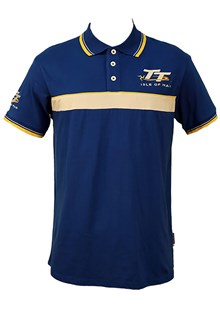 TT Polo Blue, White and Yellow Stripe