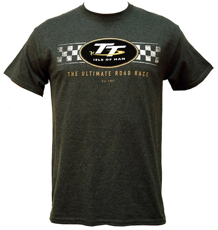 TT Logo Check Design T-Shirt Dark Heather - click to enlarge