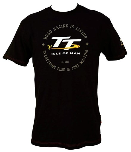 TT Vintage T-Shirt Black Road Racing is Living - click to enlarge