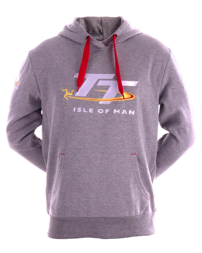 TT Grey Hoodie with Red Drawstring - click to enlarge