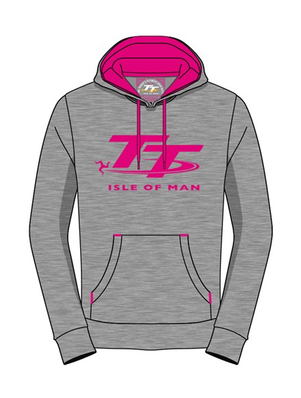 TT Ladies Hoodie Grey/Pink - click to enlarge