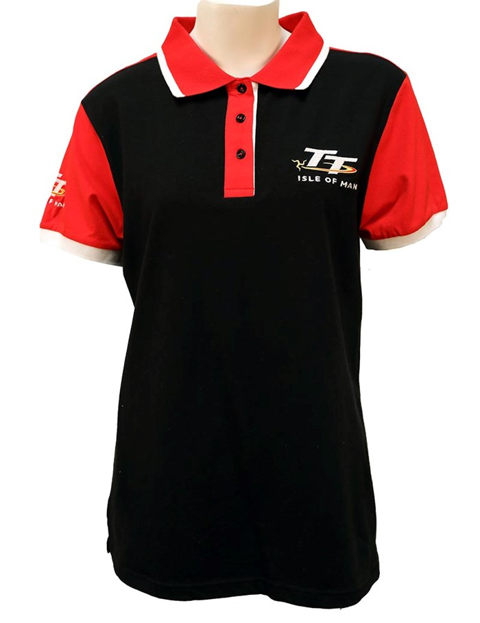 TT Ladies Polo Black with Red Shoulders - click to enlarge