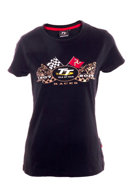 TT 2019 Ladies Gold Bike T-shirt Black - click to enlarge