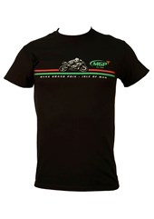 Manx Grand Prix Red/Green Stripe T-Shirt Black