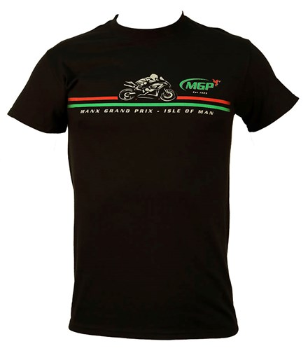 Manx Grand Prix Red/Green Stripe T-Shirt Black - click to enlarge