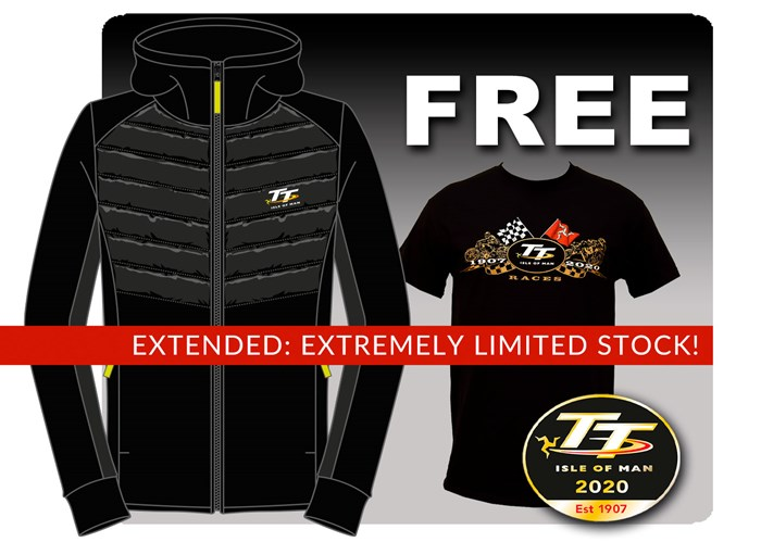 TT Ribbed Black Hoodie with Free Gold Bikes T-Shirt and TT Pin - click to enlarge