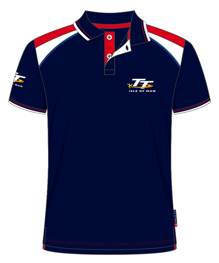 TT Polo Navy, Red and White Shoulders - click to enlarge