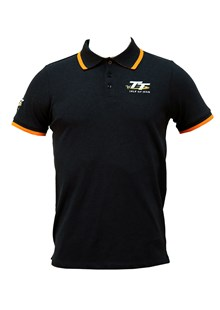 TT Polo Navy Fleck with Orange Trim