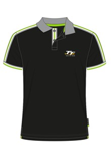 TT Polo Black with Green/White and Grey Edging