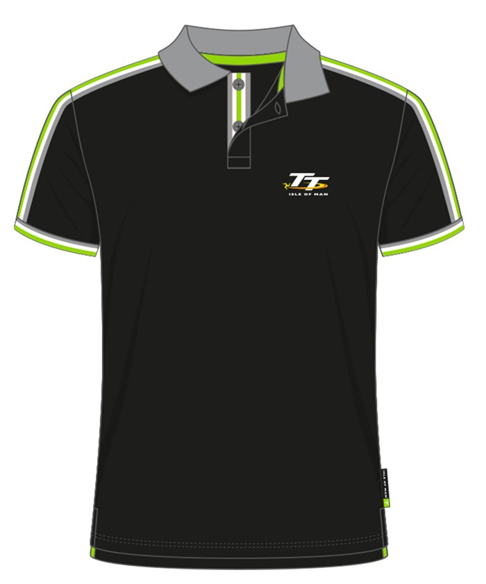TT Polo Black with Green/White and Grey Edging - click to enlarge