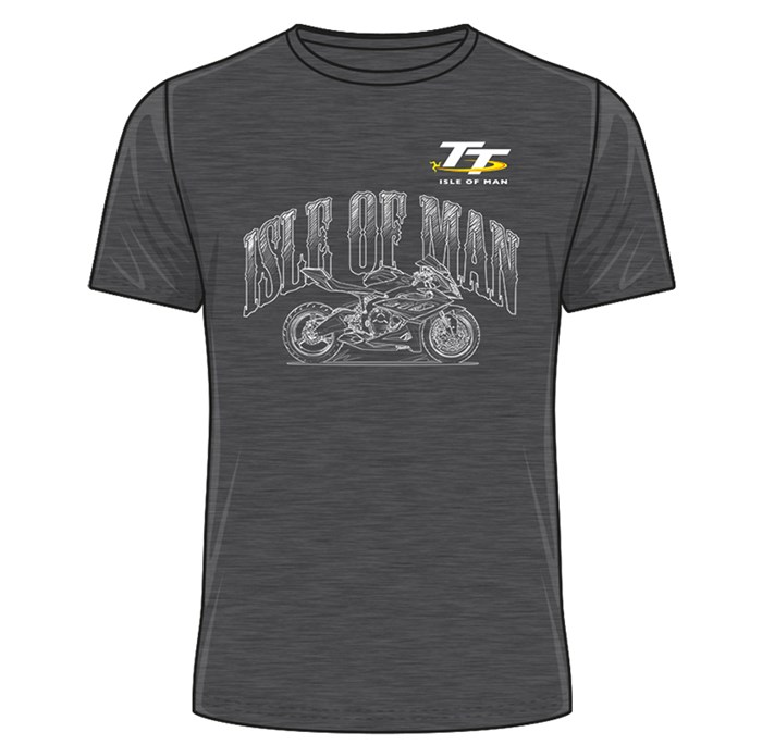 TT Isle of Man Sketched Bike T-Shirt Dark Heather - click to enlarge