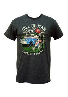 TT Tourist Trophy/Retro Van T-Shirt Dark Heather