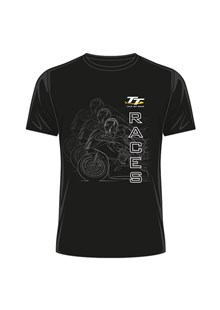 TT Races Mirrored Bike T Shirt Black