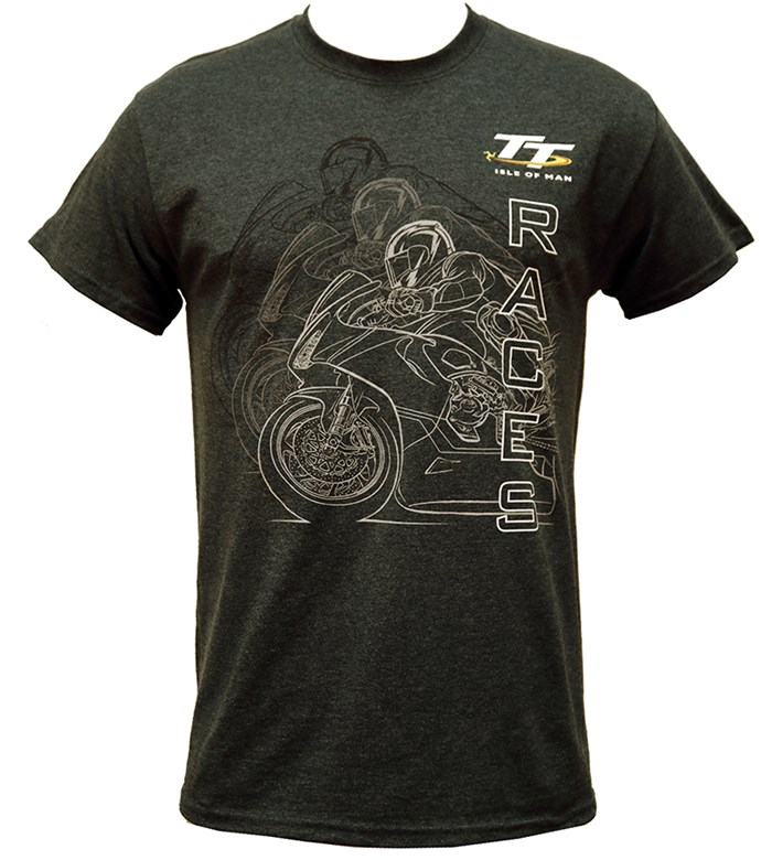 TT Races Mirrored Bike T Shirt Dark Heather - click to enlarge