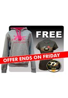 TT Ladies Hoodie Grey with Free Gold Bikes T- Shirt and TT Pin