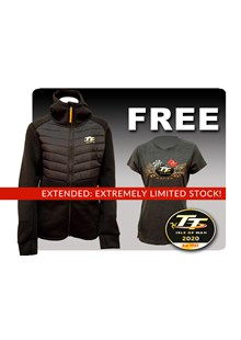 TT Ladies Ribbed Hoodie with Free Gold Bikes T-Shirt and TT Pin