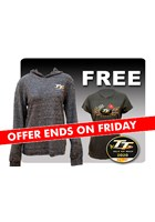 TT Ladies Lightweight Hoodie Blue + Free Gold Bikes T-Shirt & TT Pin