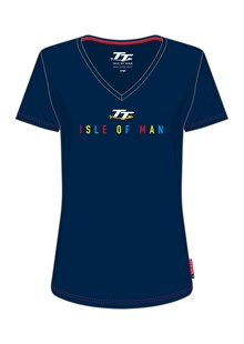 TT Ladies Isle of Man V-Neck T-Shirt Blue
