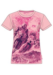 TT Ladies Bikes/Waves T-Shirt Pink