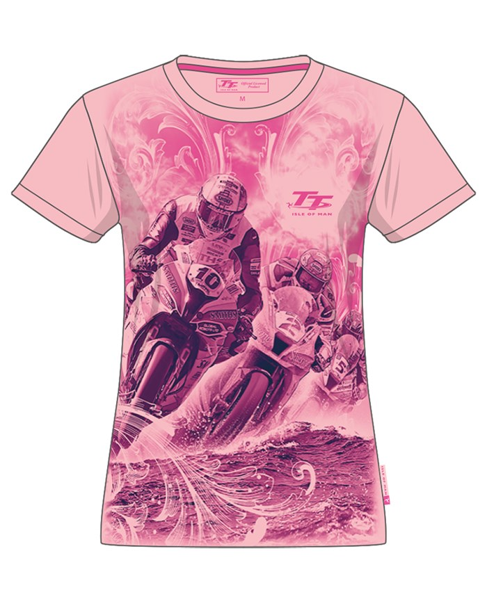 TT Ladies Bikes/Waves T-Shirt Pink - click to enlarge
