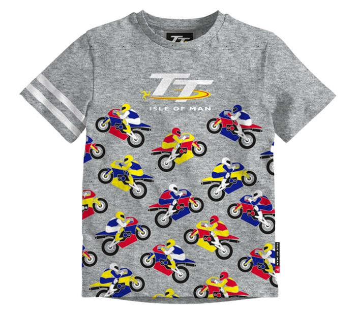 TT Coloured Bikes Baby T-Shirt Grey - click to enlarge