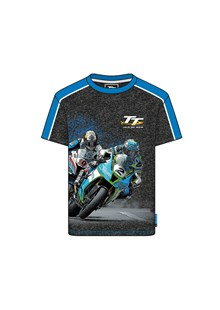 TT 2 Bikes Childs Custom T-Shirt Black Marl