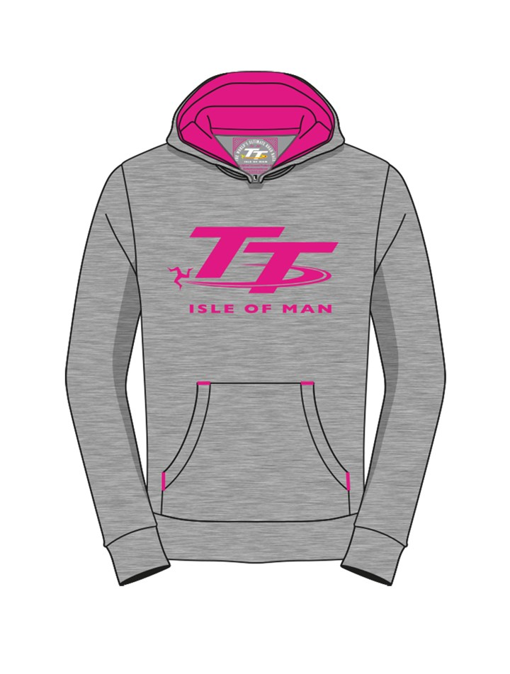 TT Hoodie Girls Grey/Pink - click to enlarge