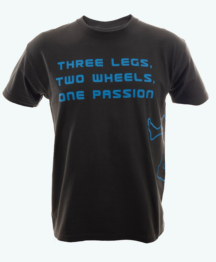 Three Legs Two Wheels One Passion T-Shirt Slate/Blue - click to enlarge