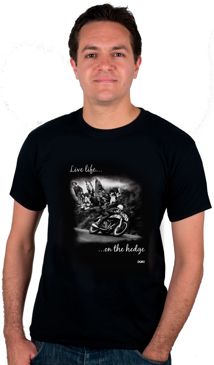 Live Life on the Hedge Geoff Duke T-Shirt - click to enlarge