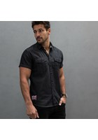 Ton Up Short Sleeved Black Denim Shirt