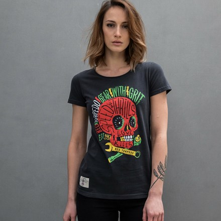 Rasta Punk Ladies T- Shirt Black - click to enlarge